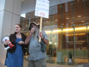 FWs Elizabeth, representing ETAn, and KB picketing in solidarity with striking Indonesian miners at Freeport-McMoRan HQ in Phoenix - J. Pierce
