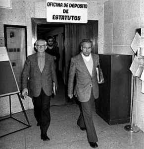 May 6, 1977: Legalization of the CNT. On the right is Gómez Casas, general secretary and author of important books on the history of the CNT.