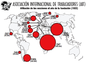 A map showing the IWA membership in 20's.