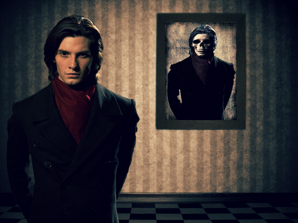 Youthful Dorian Gray standing in front of painting of skeleton